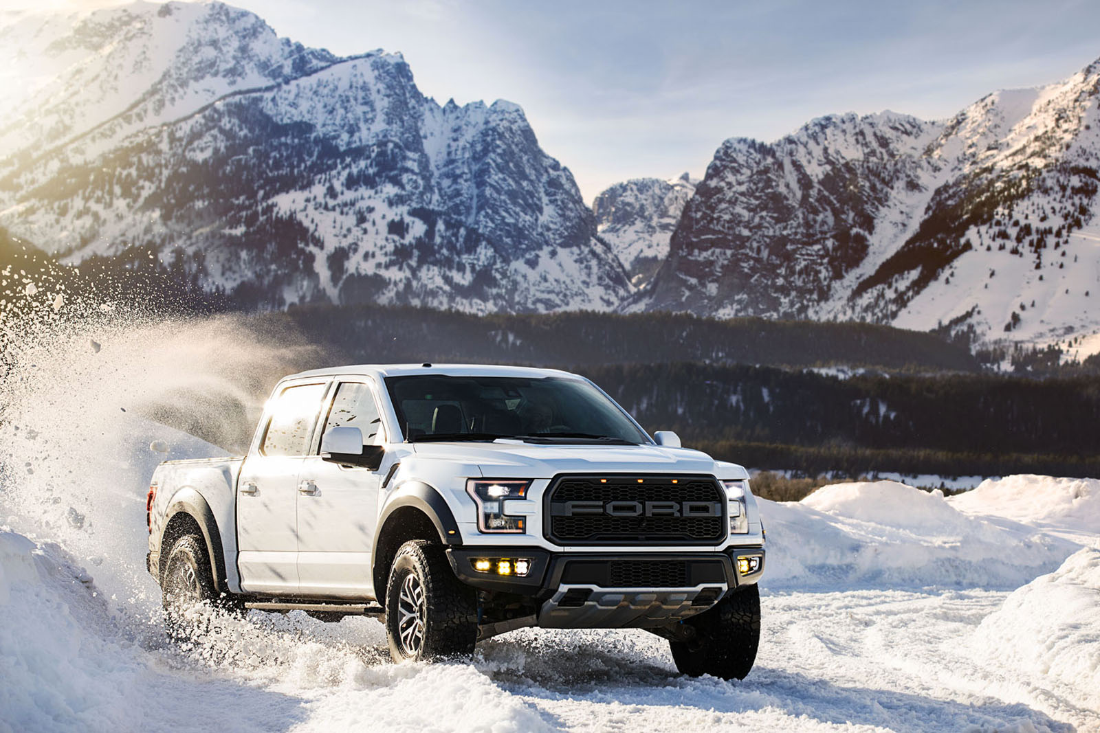 A Ford F-150 Raptor in the Tetons